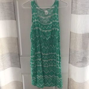 Green/White Summer Dress - Size Large